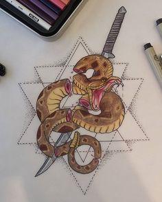 #snake #katana #geometrictattoo #realistictattoo #colorrealism #realisticsnakes #dimondbacksnake #rattlesnake #diamondback #chopsuey #stippling