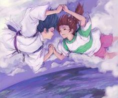 Und auch noch ein wunderschönes Bild von Haku/Kohaku und Chihiro aus dem Film Chihiros Reise ins Zauberland