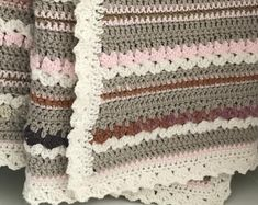 Crochet Blanket Pattern - Arielle's Square - Easy Granny Square Pattern - Throw Afghan - by Deborah O'Leary Patterns Basic Crochet Stitches, Crochet Blanket Patterns, Baby Blanket Crochet, Crochet Baby, Knit Patterns, Easy Patterns, Crochet Quilt, Easy Baby Blanket, Baby Blankets