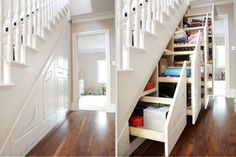 В шкафы под лестницей можно складывать различные вещи, сэкономив при этом кучу пространства.