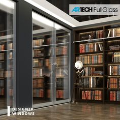 Modern patio glass door, silver color, grey color, library at home, office Balcony Doors, Modern Windows, Modern Patio, Entrance Doors, Glass Door, Library Books, Library Ideas, Master Bedroom, Bookcase