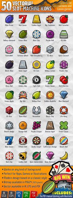50 Vectorial Slot Machine Icons - Decorative Symbols Decorative