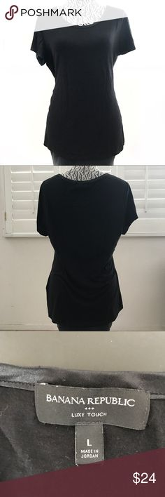 """BANANA REPUBLIC black luxe touch shirt large Pit to pit 19"""" Sleeve 6.5"""" Shoulder 16.5"""" Length 24"""" Banana Republic Tops Tees - Short Sleeve"""