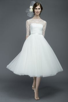 Style RHO * 6741E * » Wedding Rehearsal / After Dresses » Encore 2015 Spring Collection » by Watters » Shown Colours : Ivory/Ivory/Gardenia ~ Shown with elegant Bateau Illusion neckline & Double-Faced Satin Ribbon at waist.