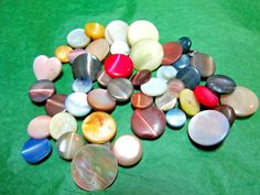 """(45) 1/4""""-5/8"""" MULTI-COLOR SHELL/GLASS SHANK BUTTONS-ASSORTED VINTAGE Lot#N332"""