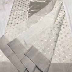 Chanderi Kathan silk saree with Silver Zari. Banaras Sarees, Chanderi Silk Saree, Indian Silk Sarees, Organza Saree, Kanchipuram Saree, Pure Silk Sarees, Kerala Saree, Kalamkari Saree, Ethnic Sarees