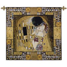 Fine Art Tapestries 'The Kiss Captured' Multicolored Cotton Wall Tapestry (Blended color waves), Multi