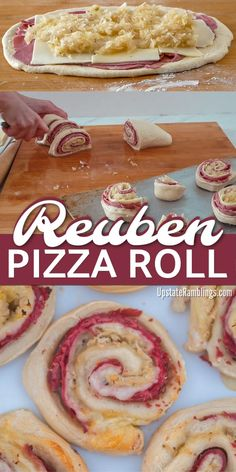These Reuben Pizza Rolls are a quick and easy Irish inspired recipe in which corned beef, Swiss cheese and sauerkraut are rolled up inside pizza dough for a St. Patrick's Day twist! This simple five ingredient recipe is ready to eat in less than 30 minute Irish Desserts, Irish Appetizers, Easy Appetizer Recipes, Beef Appetizers, Simple Appetizers, Asian Desserts, Pizza Recipes, Cooking Recipes, Reuben Pizza Recipe