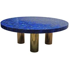 Breathtaking Blue Lapis Lazuli Table with Polish Brass Legs | From a unique collection of antique and modern coffee and cocktail tables at https://www.1stdibs.com/furniture/tables/coffee-tables-cocktail-tables/
