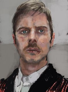 """""""Self Portrait with moustache (2012) - iPad art created using Procreate App""""  It's pictures like these that fuel my determination to become a better artist."""