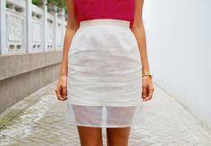 DIY Sheer hem Pencil Skirt