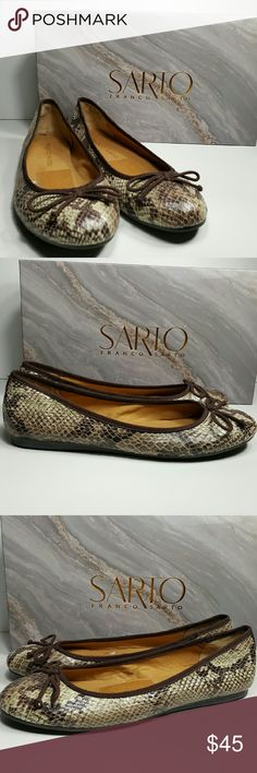 FRANCO SARTO Snake Skin Shoes These are new without tags.   Made Made and leather sock with rubber sole.  Perfect condition except you can see where the price tag was removed on the inside of the shoes as shown in photo.comes in box. Franco Sarto Shoes Flats & Loafers