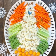 """FROZEN's """"Olaf"""" veggie Tray -- My kids would love to bring this! haha!!"""