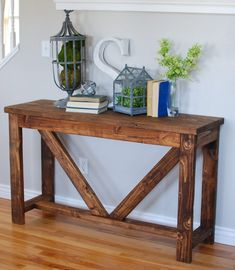 Beautiful Entry Table Decor Ideas to give some inspiration on updating your house or adding fresh and new furniture and decoration. Pallet Entry Table, Outdoor Console Table, Hallway Table Decor, Entryway Console Table, Entry Tables, Entry Table Diy, Rustic Console Tables, Trestle Table, Entryway Ideas