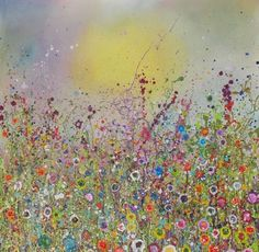 Wild Love (2009) 100cmx100cm Oil On Canvas and Mixed Media Wild Flowers - Yvonne Coomber  #Flowers