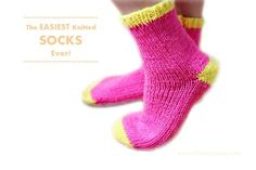 The easiest knitted socks ever diy tutorial and pattern. Knitted on straight needles with worsted weight yarn, but with the pictures and shape of this sock, it would be simple to adjust it!