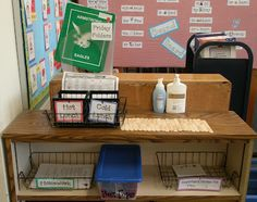 """""""Stop it and drop it"""" station for arriving in the morning. It has the folder tub, homework basket, notes for teacher basket, and so much more. Classroom Organisation, Teacher Organization, Classroom Setup, Teacher Tools, Classroom Design, Future Classroom, Classroom Management, Organization Ideas, Organizing"""