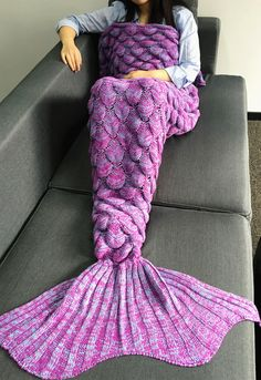 $20.84 Crochet Knitting Fish Scales Design Mermaid Tail Style Blanket