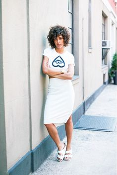 street style - the side zips on the this chic little pencil skirt give it just the right amount of edge...