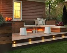 floating patio deck - love the lighting.