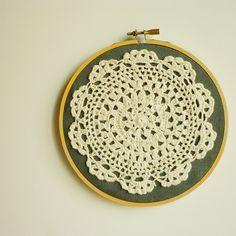 Doily Embroidery Hoop Art - Flower on Desert