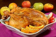Курица фаршированная рисом и фруктами в духовке