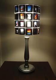 Lampshade made from slides all linked together.  Kind of a cool idea!  Just make sure of what kind of light bulb you're using and make sure it doesn't get any hotter than the bulbs in the old projectors we used to use.  ;-)