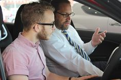 Alfa Romeo Specialist, Peter showing Luke how to use the TCT gearbox on his brand new Alfa Romeo Giulietta.