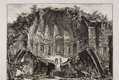 Restos del templo del dios Cánope en la Villa Adriana de Tívoli. Vedute di Roma. Fondazione Giorgio Cini, Venecia