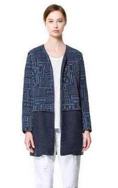 Image 3 of JACQUARD AND DENIM COAT from Zara