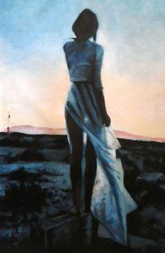 """Artist thomas saliot; Painting, """"sunset desert girl"""""""