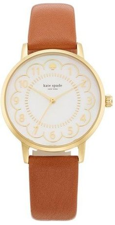 Women's Kate Spade New York 'Metro' Scalloped Dial Leather Strap Watch, 34Mm