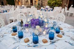 Purple and deep blue theme to do something different. Love it! Wedding by Monte-Carlo Weddings