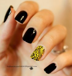 Indian Ocean Polish: Yellow and Black Aztec Design Plate: Meliney A53