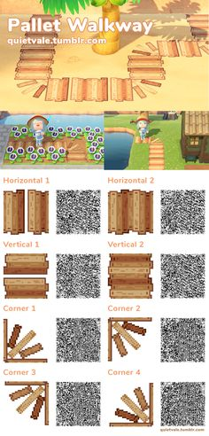 Sachie's Island – QR Codes! Including extra patterns that I just rly like :) – Animal Crossing New Horizons Qr Codes Animal Crossing 3ds, Animal Crossing Qr Codes Clothes, Like Animals, Unique Animals, Rise Ladies Code, Pallet Walkway, Wooden Pathway, Stickers Kawaii, Acnl Paths