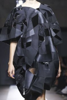 Geometric Patchwork Dress with sculptural silhouette; experimental fashion design // Junya Watanabe SS15
