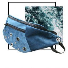 Maxi Riñonera terciopelo azul con remaches níquel Madrid, Bags, Fashion, Blue Velvet, Handmade Handbags, Fabrics, Blue Nails, Men, Manualidades