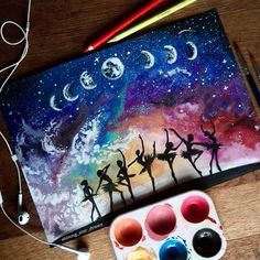"""""""Dancing all night""""❤🌕🎨Comment below what you think😊👇Done with Tempera paint and with Stabilo carbOthello pastels. Galaxy Painting, Galaxy Art, Drawn Art, Cool Drawings, Diy Art, Painting & Drawing, Diy Painting, Creative Art, Cute Art"""