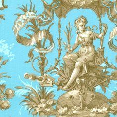 """Elegant Wallpaper Fabric, Fat Quarter, Blue / Gold, 18"""" X 22 ..."""