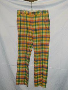 Mens Plaid India Madras Vintage Golf Pants Size 36 - INV#0026 #IndiaMadra #Golfpants