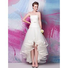 Fit and Flare Strapless Asymmetrical Satin And Tulle wedding Dress 24 Hours Delivery – GBP £ 127.79