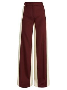 Valentino Wide-leg Low-waist Stripe Tailored Trousers In Red Tailored Trousers, Trousers Women, Pants For Women, Clothes For Women, Skirt Pants, Pants Outfit, Minimal Fashion, Leggings Fashion, Spring Outfits