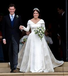 Loved Princess Eugenie's V-neck, low-back wedding dress? We've found some bridal designs that may inspire you princess-eugenie-wedding-dress-full-length Royal Wedding Gowns, Royal Weddings, Princess Wedding Dresses, Dream Wedding Dresses, Bridal Dresses, Wedding Outfits, Celebrity Wedding Photos, Celebrity Wedding Dresses, Celebrity Weddings