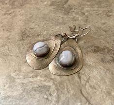 Stone Earrings, Pearl Earrings, Blue Lacy, Metal Texture, Leaf Pendant, Handmade Sterling Silver, Teardrop Earrings, Metal Jewelry, Agate