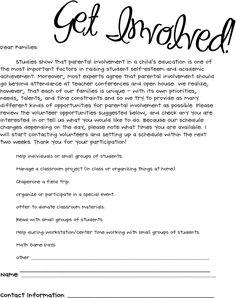 ideas about parent volunteer letter on pinterest   parent    parent volunteer sheet for parent night