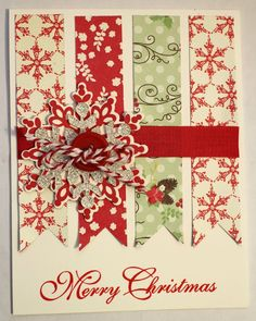 handmade christmas card from my card attic white with mats and