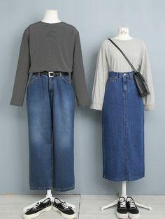 Korean Street Fashion, Korea Fashion, Vogue Fashion, Cute Fashion, Hijab Fashion Summer, Modest Fashion, Skirt Fashion, Fashion Outfits, Matching Outfits Best Friend
