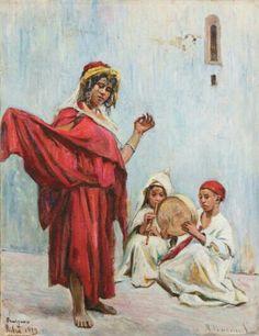 Algérie - peintre français   Jean- Désiré BASCOULES (1886-1976), Huile sur toile, Titre :La danse à Biskra