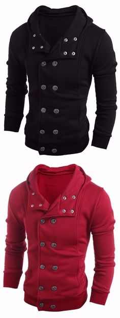 Long Sleeve Side Pocket Double Breasted Hoodie  #3 #new #pinterest #love #like4like #hoodies #fashion #trend Casual Look For Men, Gents Shirts, Warm Outfits, Stylish Outfits, Gq Style, Mens Sweatshirts, World Of Fashion, Men Fashion, Stylish Men