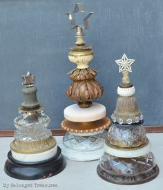 Upcycled Christmas tree with vintage lamp parts